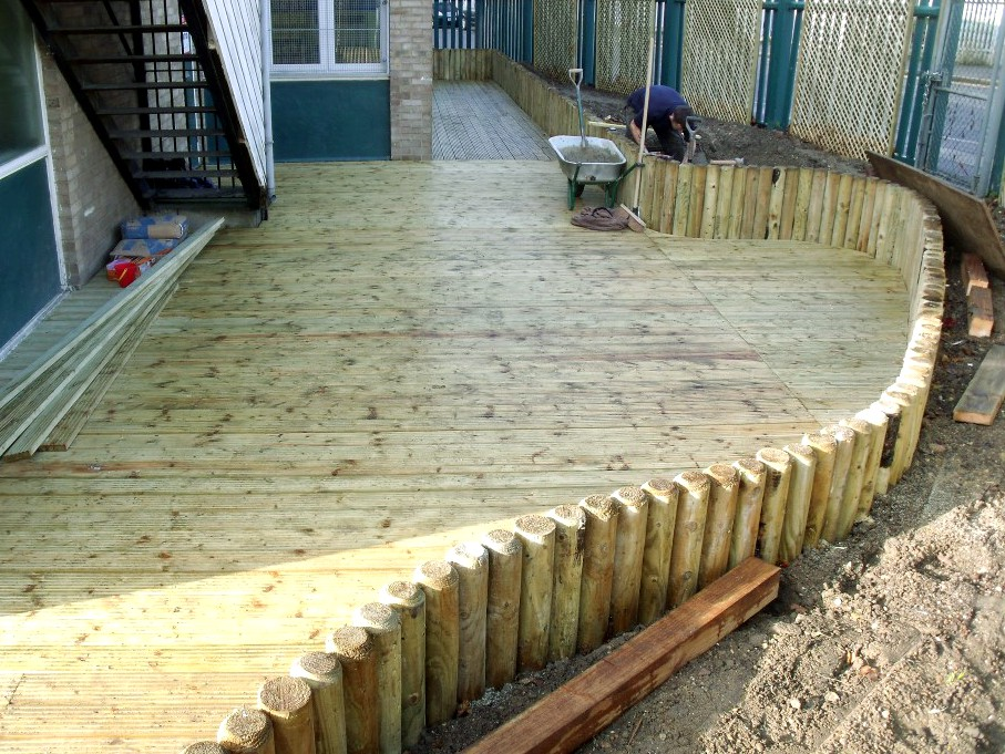 Construction of a custom decking and raised border in 2010