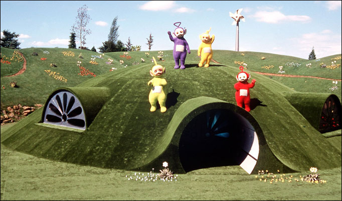 The famous Teletubbies house and surrounding landscape